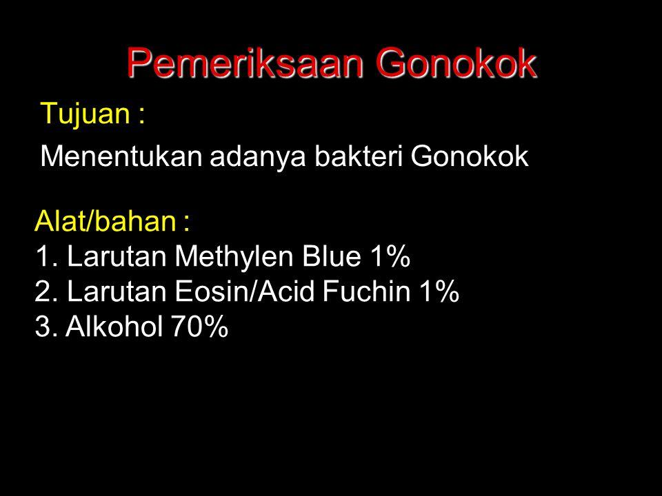 Pemeriksaan Gonokok Tujuan : Menentukan adanya bakteri Gonokok