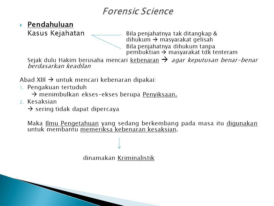 Forensic Science Pendahuluan