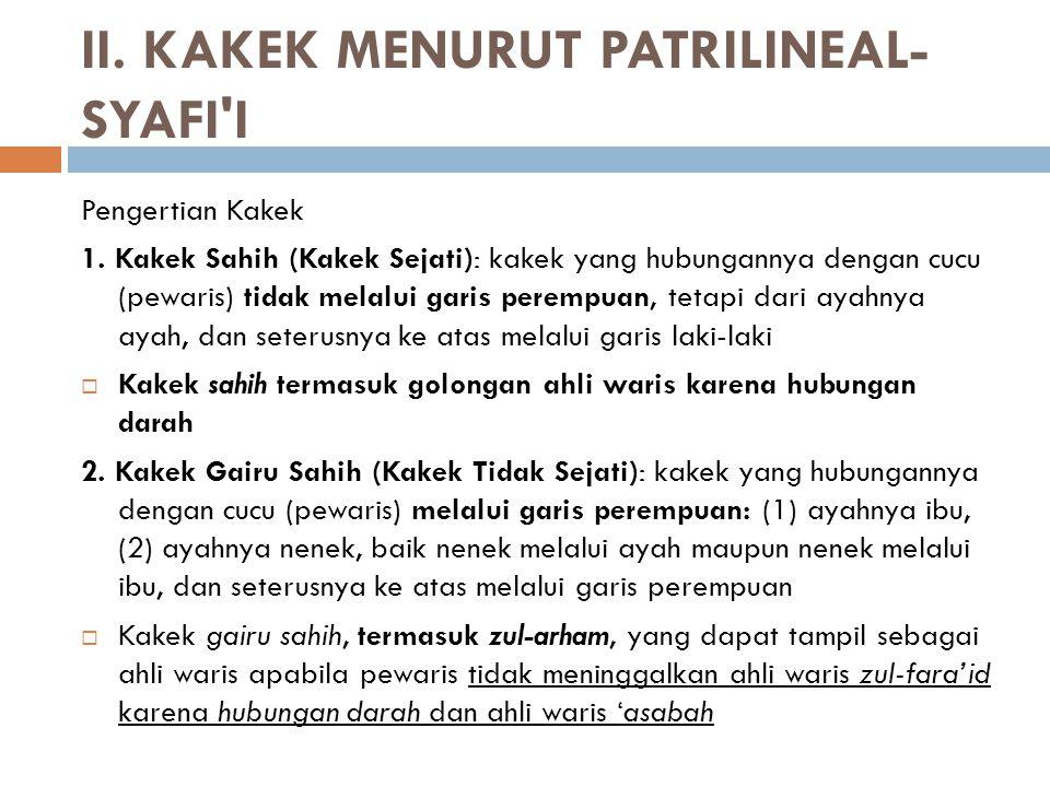 II. KAKEK MENURUT PATRILINEAL-SYAFI I
