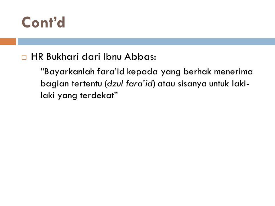 Cont'd HR Bukhari dari Ibnu Abbas: