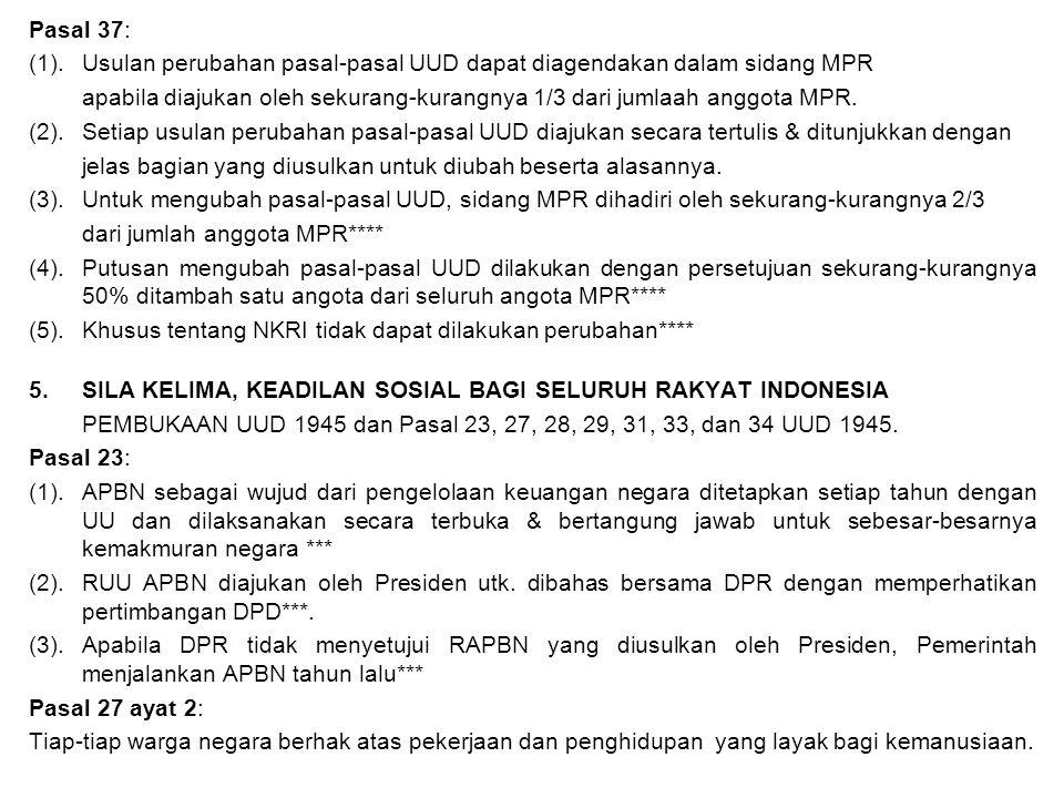 Pasal 37: (1). Usulan perubahan pasal-pasal UUD dapat diagendakan dalam sidang MPR.