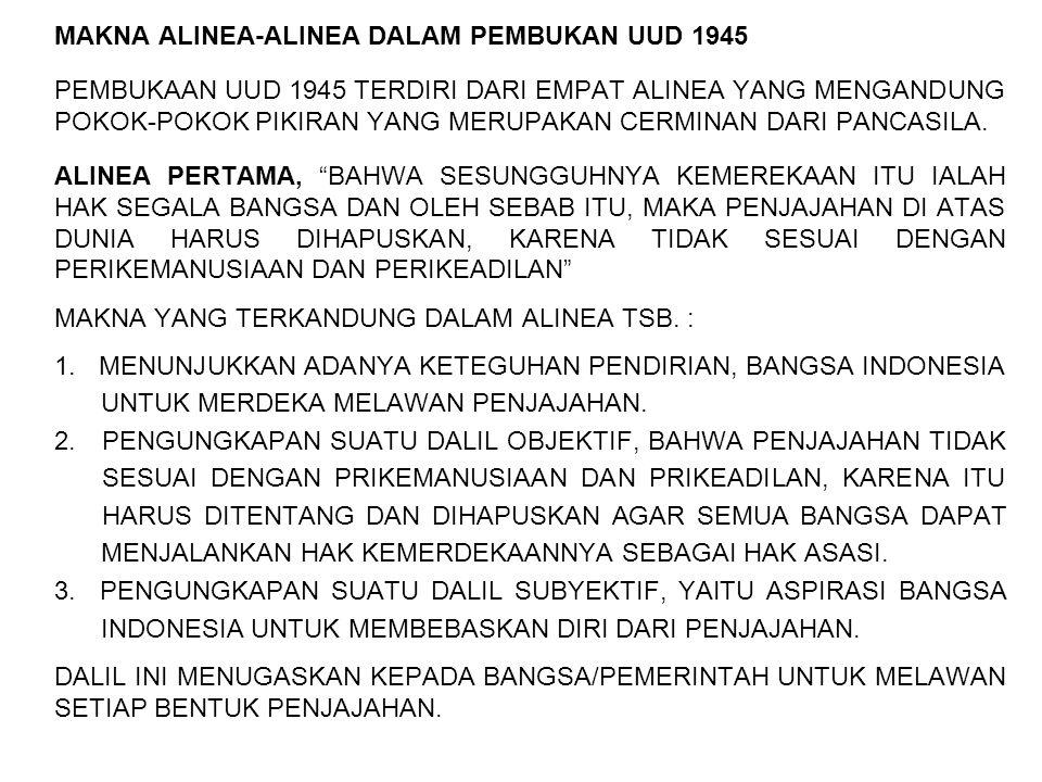 MAKNA ALINEA-ALINEA DALAM PEMBUKAN UUD 1945