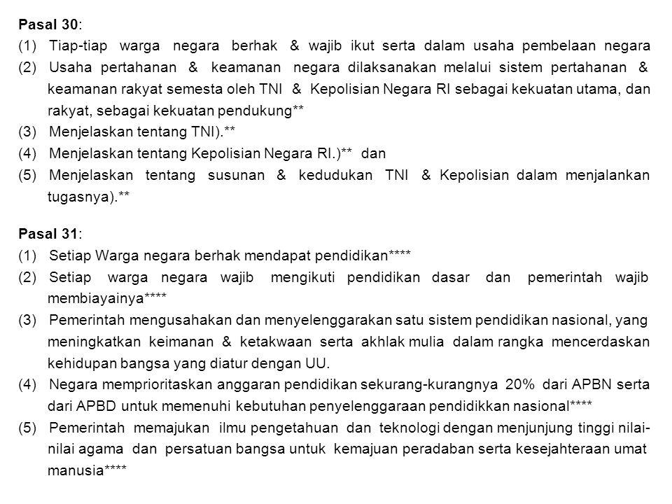 Pasal 30: (1) Tiap-tiap warga negara berhak & wajib ikut serta dalam usaha pembelaan negara.