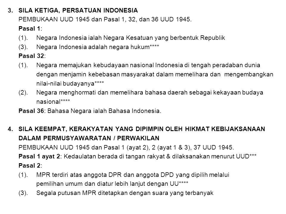 3. SILA KETIGA, PERSATUAN INDONESIA