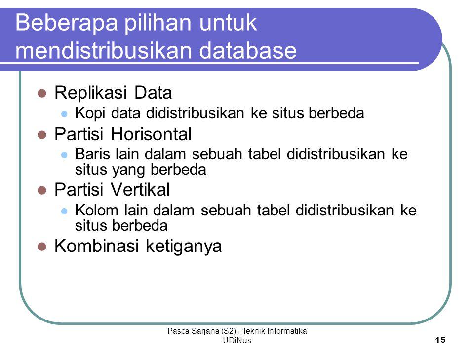 Beberapa pilihan untuk mendistribusikan database