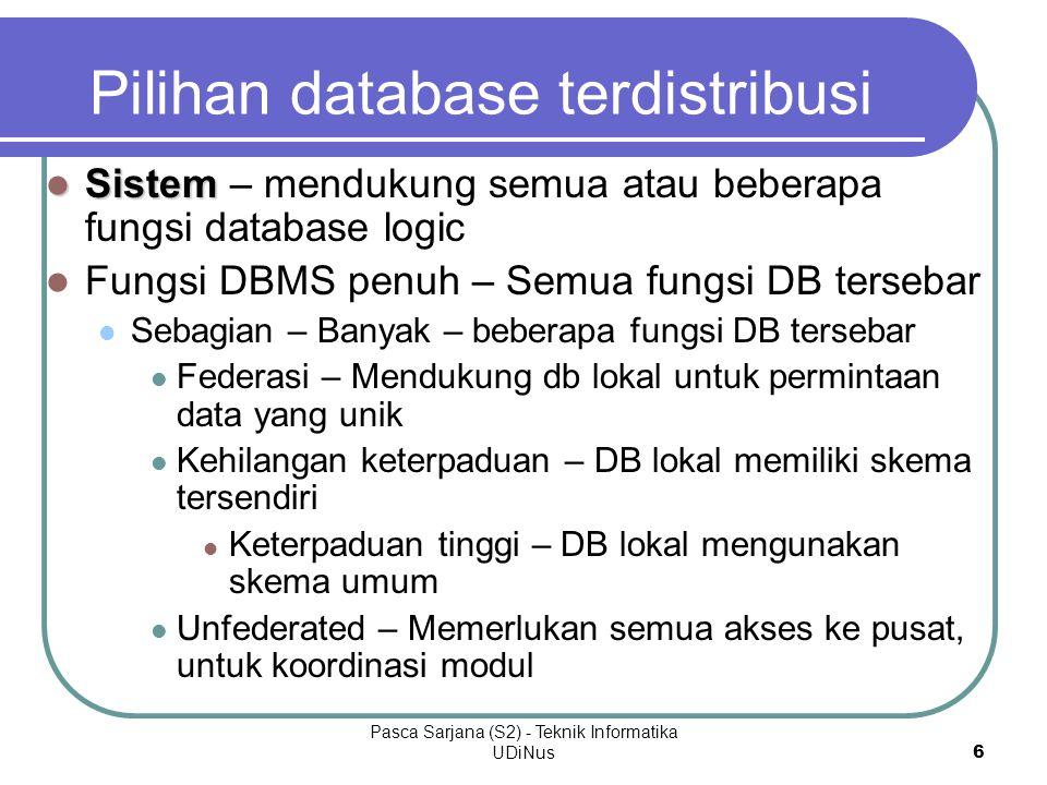Pilihan database terdistribusi
