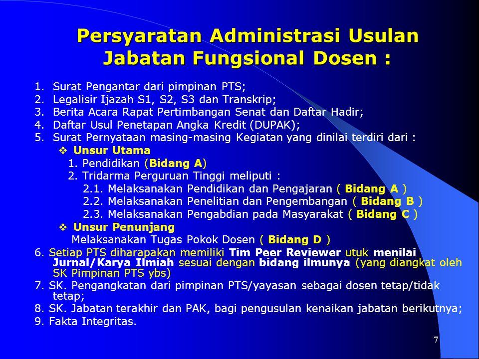 Persyaratan Administrasi Usulan Jabatan Fungsional Dosen :