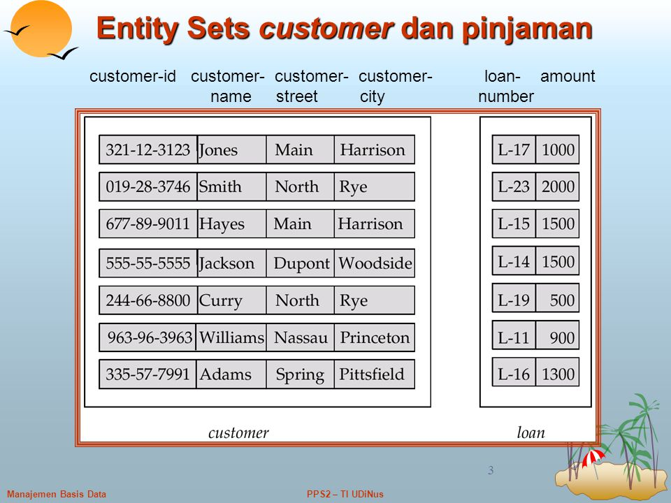 Entity Sets customer dan pinjaman