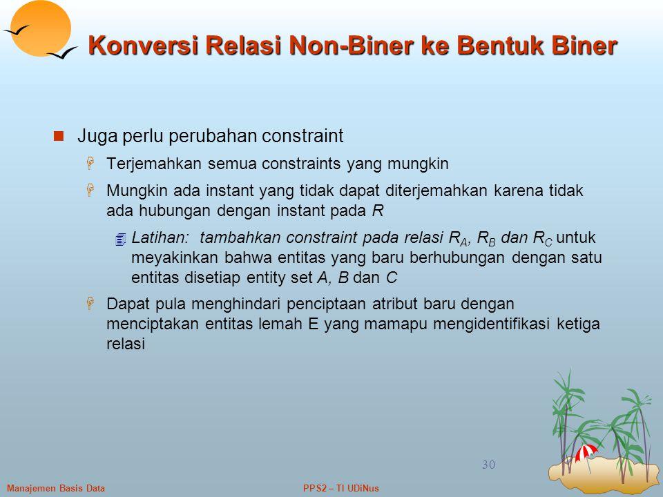 Konversi Relasi Non-Biner ke Bentuk Biner