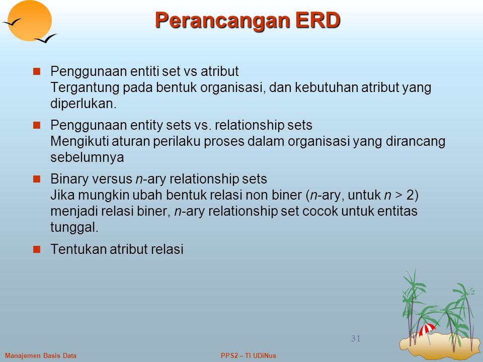 Perancangan ERD Penggunaan entiti set vs atribut Tergantung pada bentuk organisasi, dan kebutuhan atribut yang diperlukan.