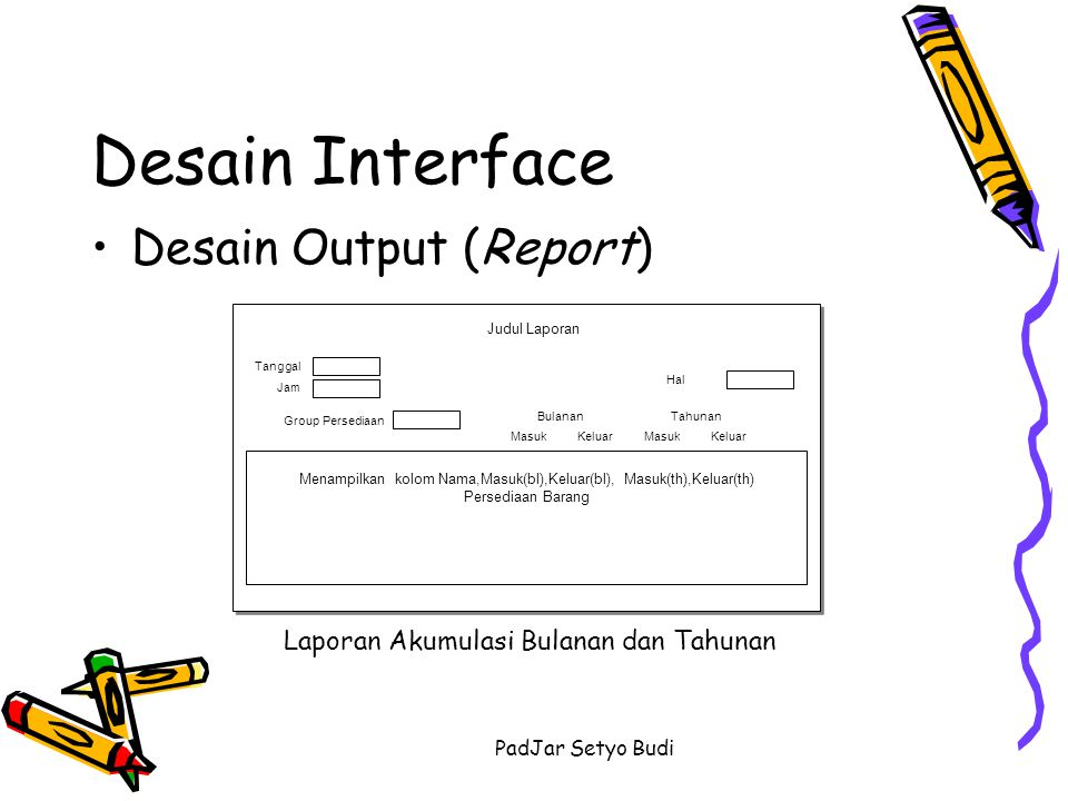 Desain Interface Desain Output (Report)