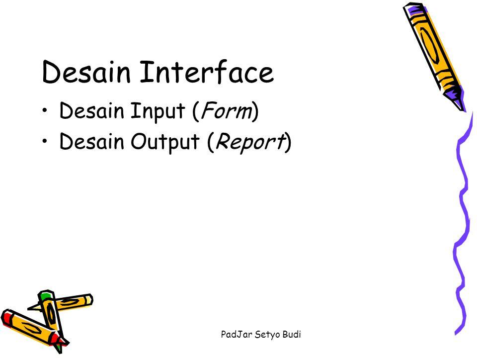 Desain Interface Desain Input (Form) Desain Output (Report)
