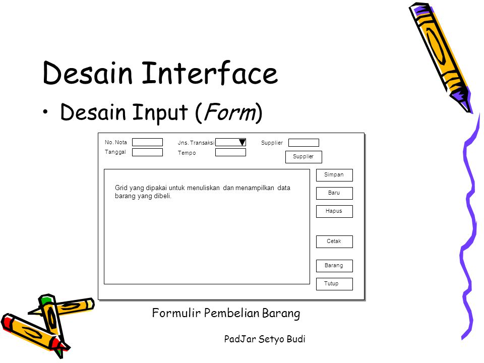 Desain Interface Desain Input (Form) Formulir Pembelian Barang