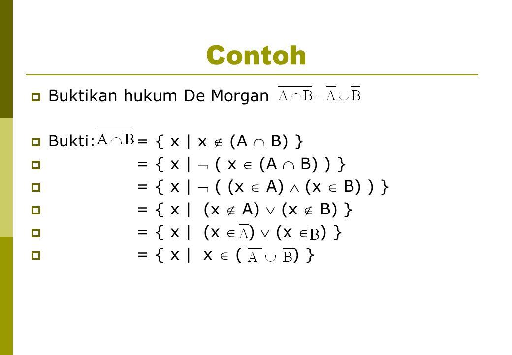 Contoh Buktikan hukum De Morgan Bukti: = { x | x  (A  B) }
