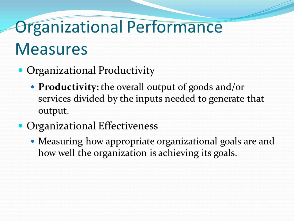 Organizational Performance Measures