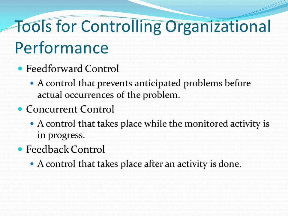 Tools for Controlling Organizational Performance