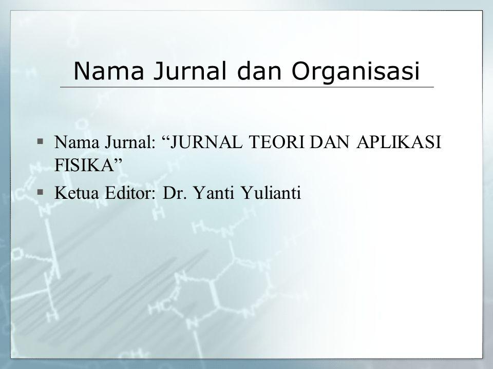 Nama Jurnal dan Organisasi