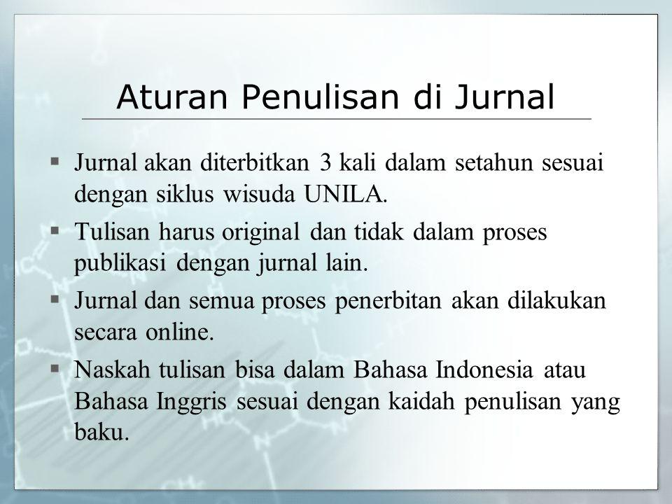 Aturan Penulisan di Jurnal