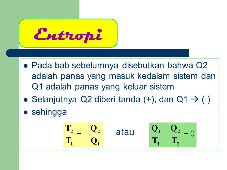 Entropi Pada bab sebelumnya disebutkan bahwa Q2 adalah panas yang masuk kedalam sistem dan Q1 adalah panas yang keluar sistem.