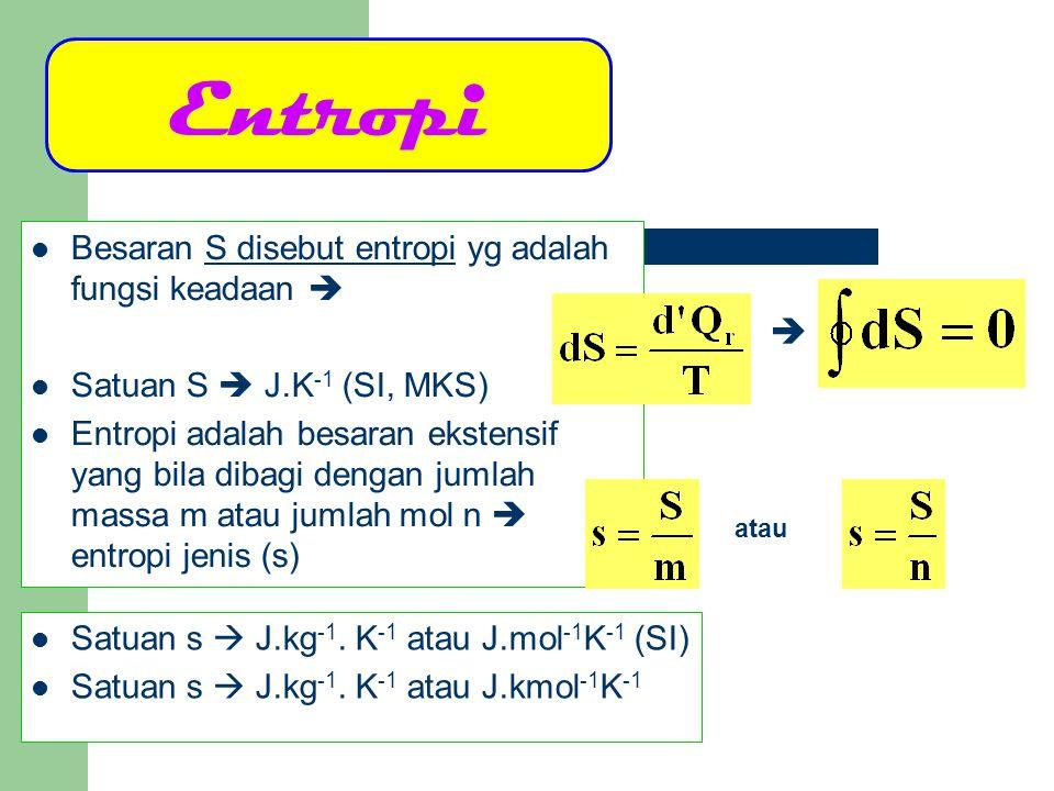 Entropi  Besaran S disebut entropi yg adalah fungsi keadaan 