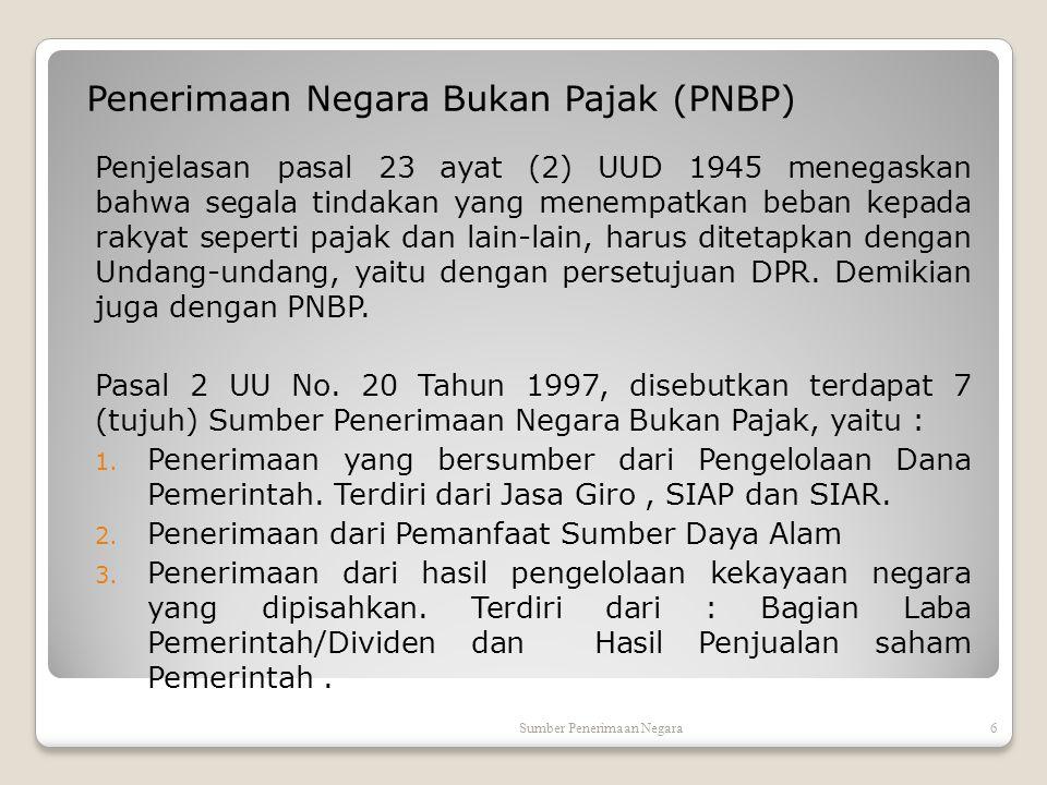 Penerimaan Negara Bukan Pajak (PNBP)