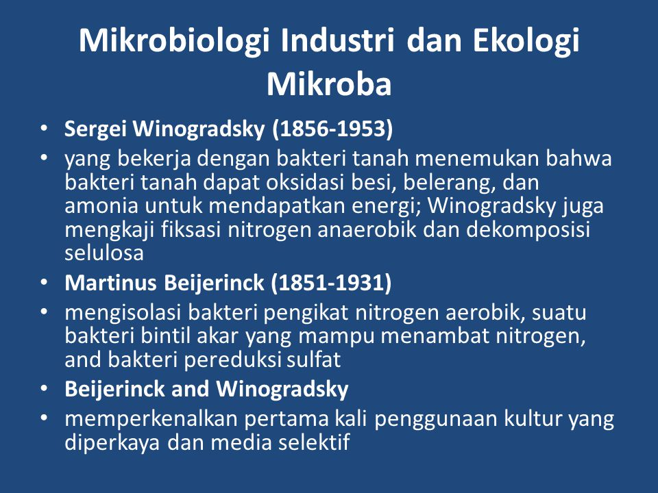Mikrobiologi Industri dan Ekologi Mikroba