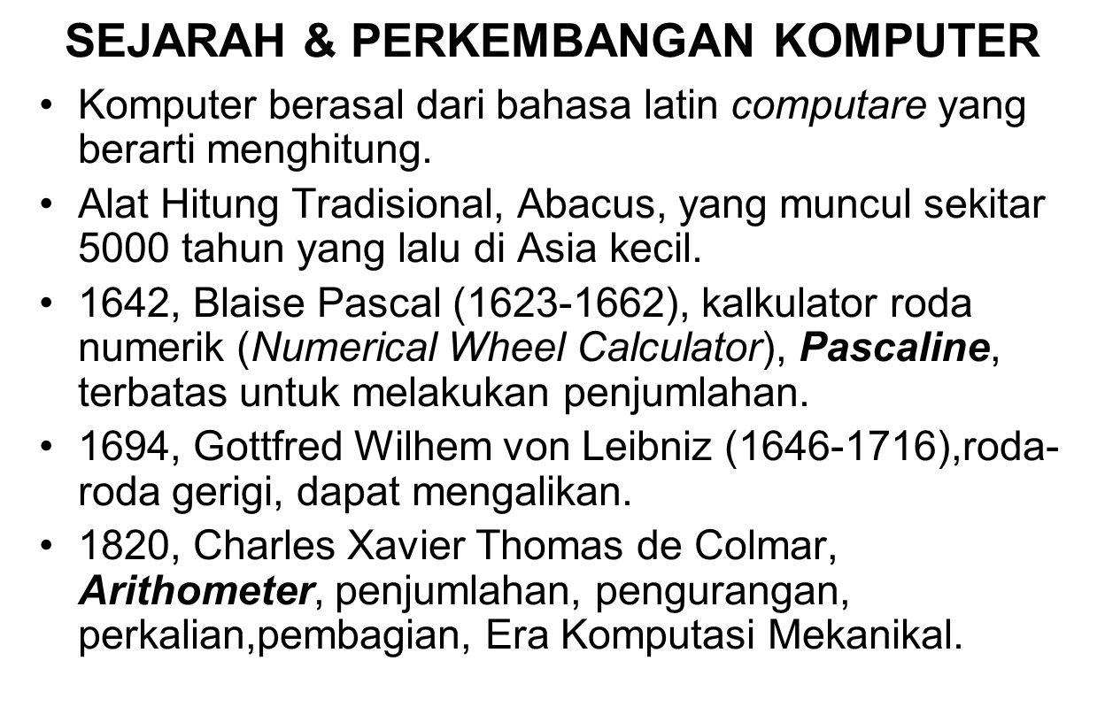 SEJARAH & PERKEMBANGAN KOMPUTER
