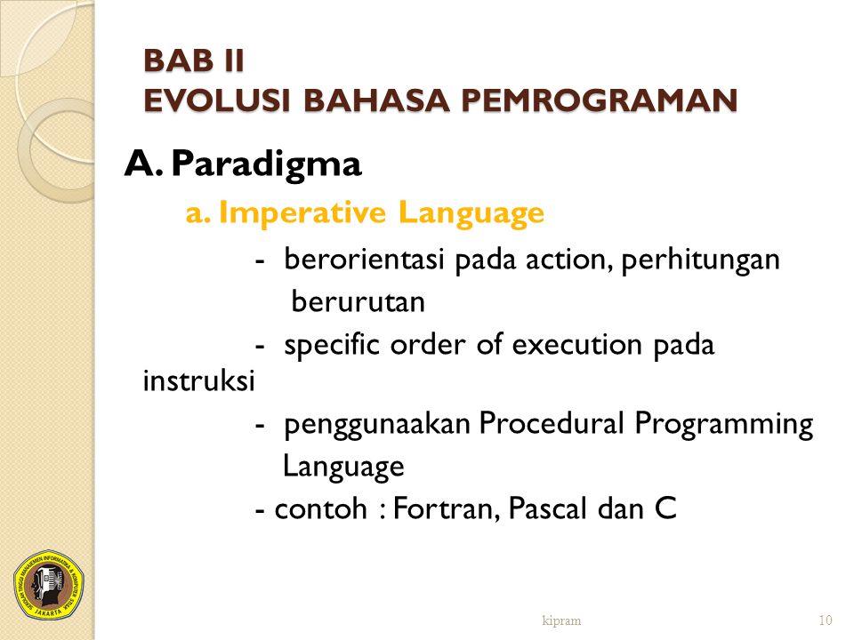 BAB II EVOLUSI BAHASA PEMROGRAMAN