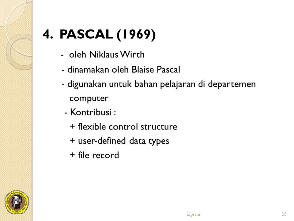 4. PASCAL (1969) - oleh Niklaus Wirth - dinamakan oleh Blaise Pascal