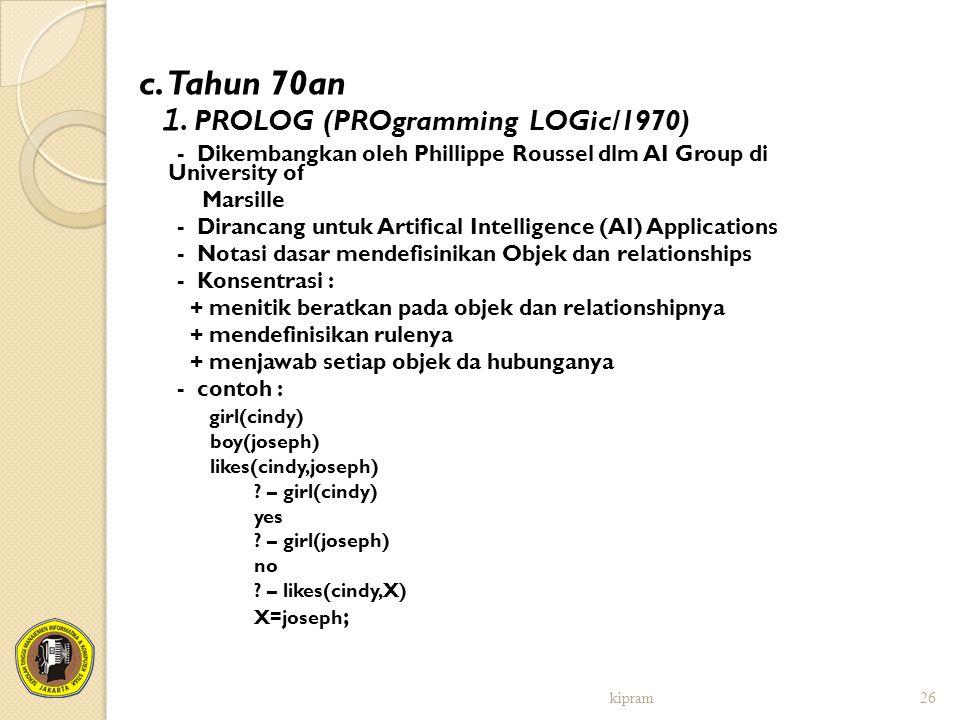 1. PROLOG (PROgramming LOGic/1970)
