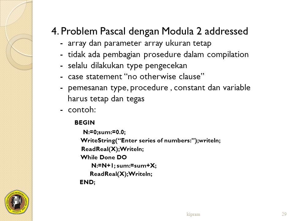 4. Problem Pascal dengan Modula 2 addressed
