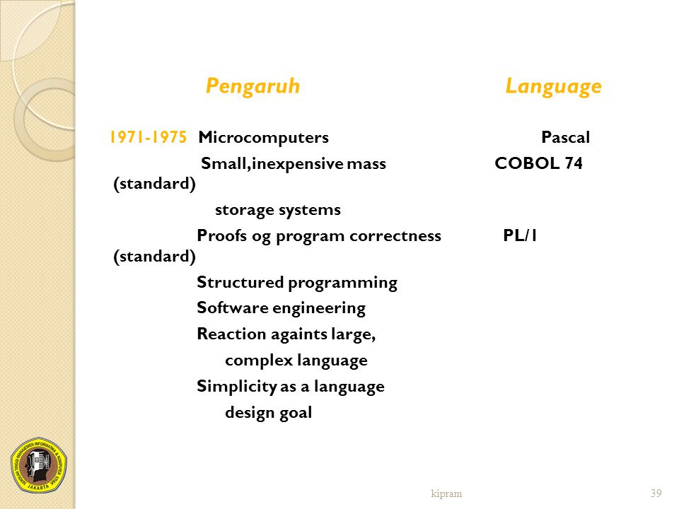 Pengaruh Language Small,inexpensive mass COBOL 74 (standard)
