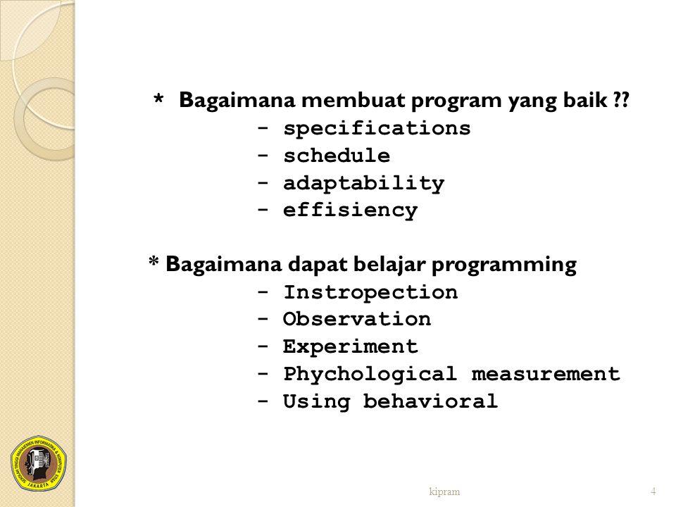 * Bagaimana membuat program yang baik
