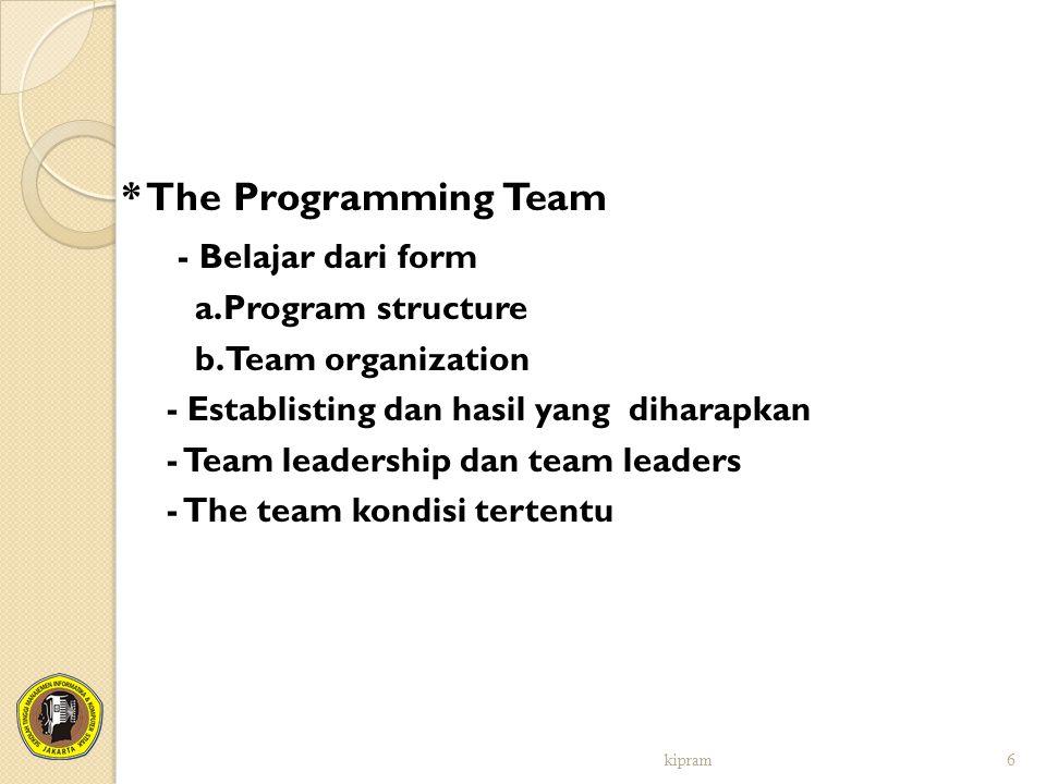 * The Programming Team - Belajar dari form a.Program structure
