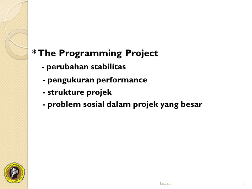 * The Programming Project - perubahan stabilitas