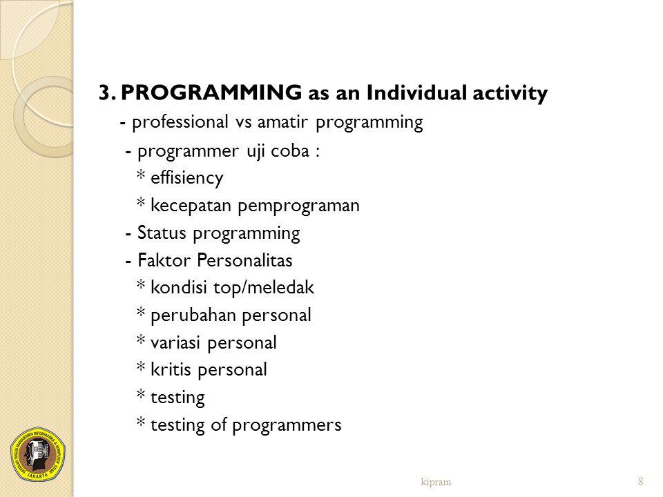 3. PROGRAMMING as an Individual activity
