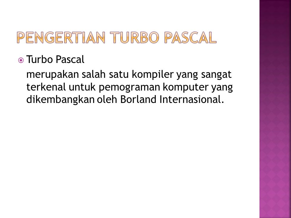 Pengertian Turbo pascal