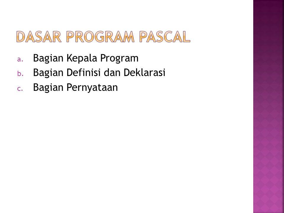 Dasar program pascal Bagian Kepala Program