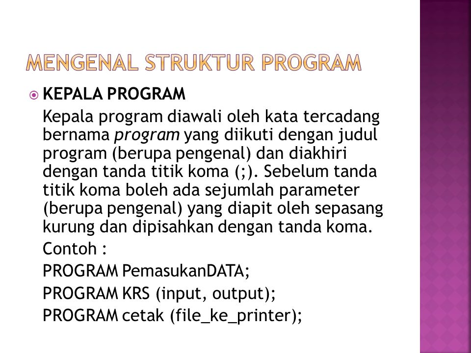 Mengenal struktur program