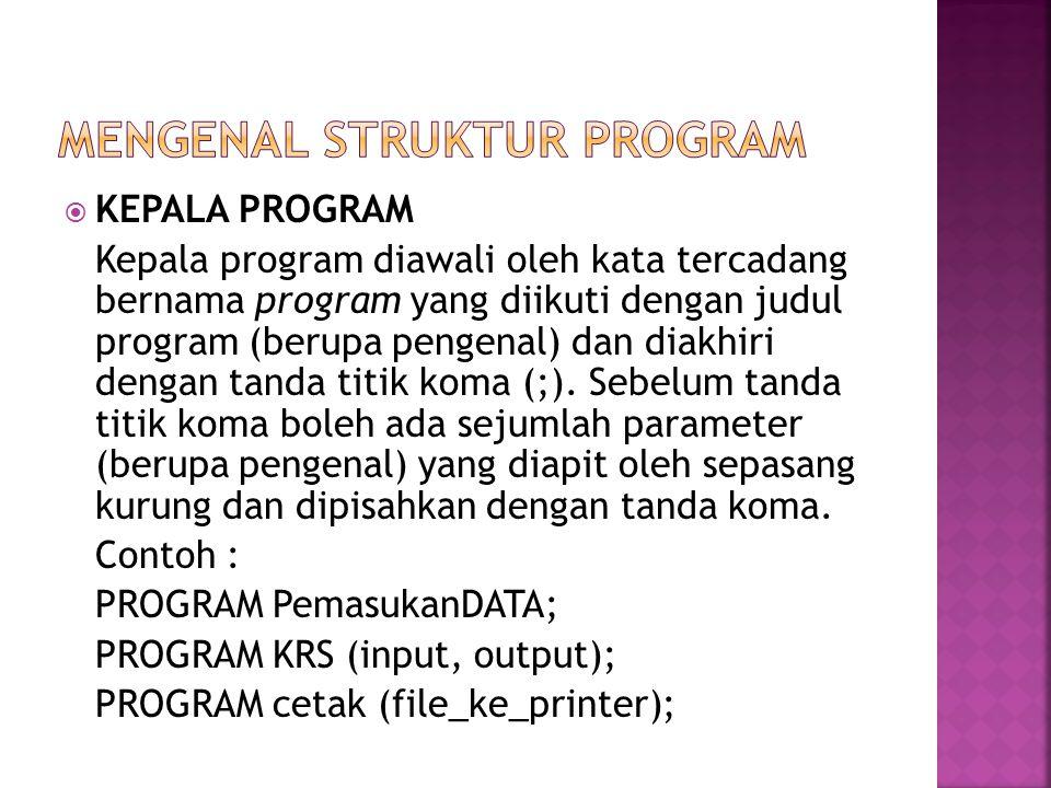 Mengenal struktur program