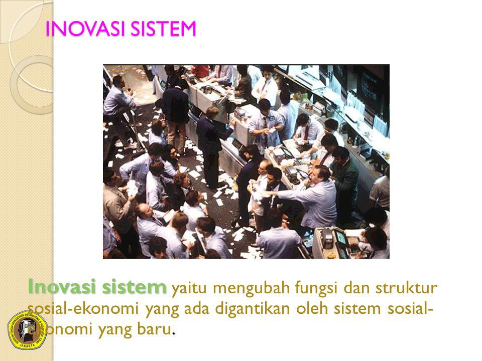 INOVASI SISTEM Inovasi sistem yaitu mengubah fungsi dan struktur sosial-ekonomi yang ada digantikan oleh sistem sosial- ekonomi yang baru.