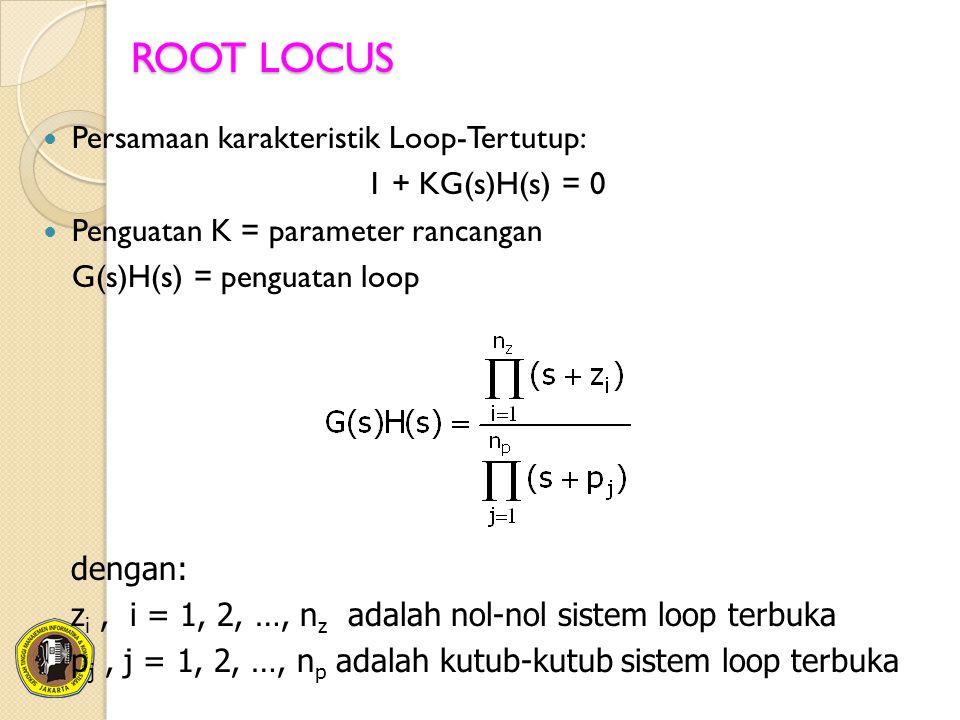 ROOT LOCUS Persamaan karakteristik Loop-Tertutup: 1 + KG(s)H(s) = 0