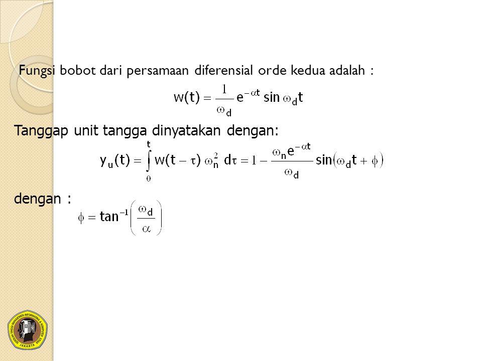 Fungsi bobot dari persamaan diferensial orde kedua adalah :