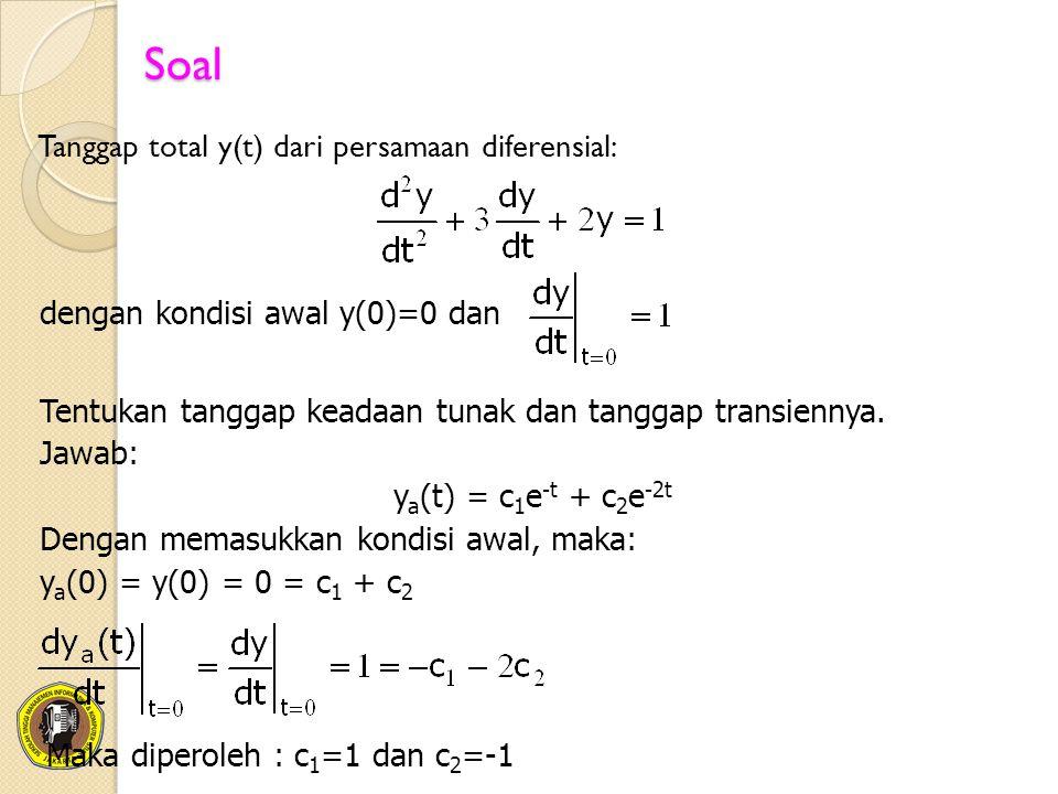 Soal Tanggap total y(t) dari persamaan diferensial: