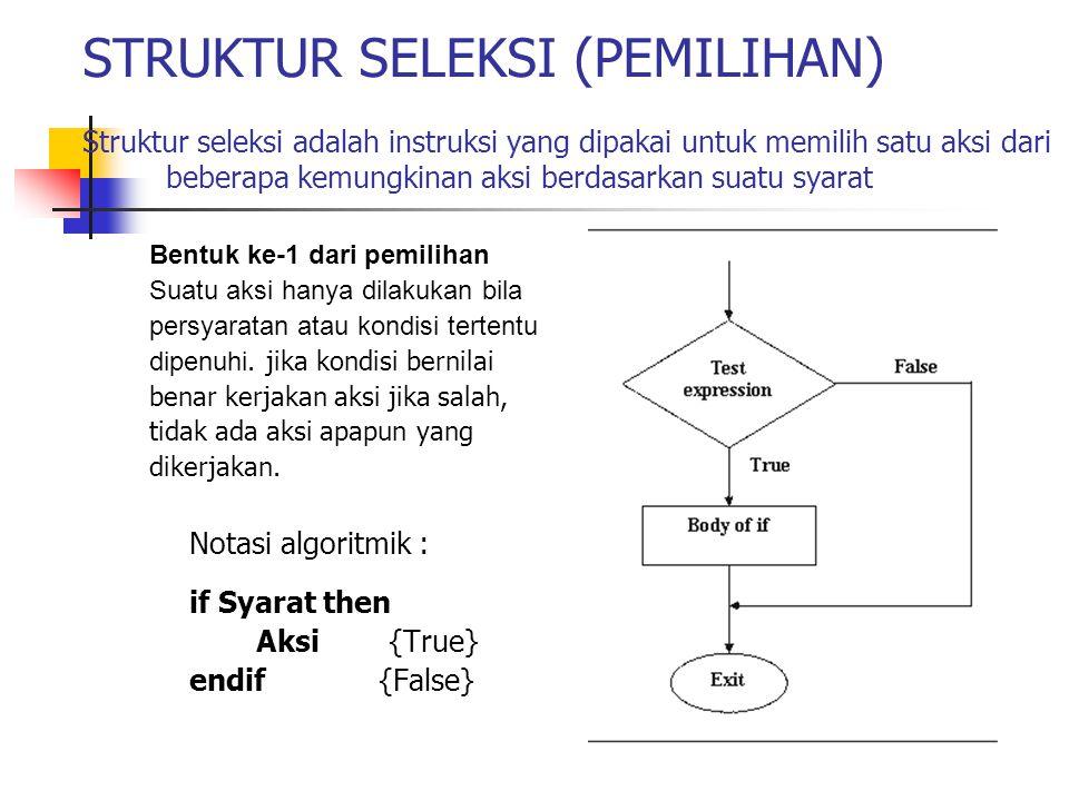STRUKTUR SELEKSI (PEMILIHAN) Struktur seleksi adalah instruksi yang dipakai untuk memilih satu aksi dari beberapa kemungkinan aksi berdasarkan suatu syarat