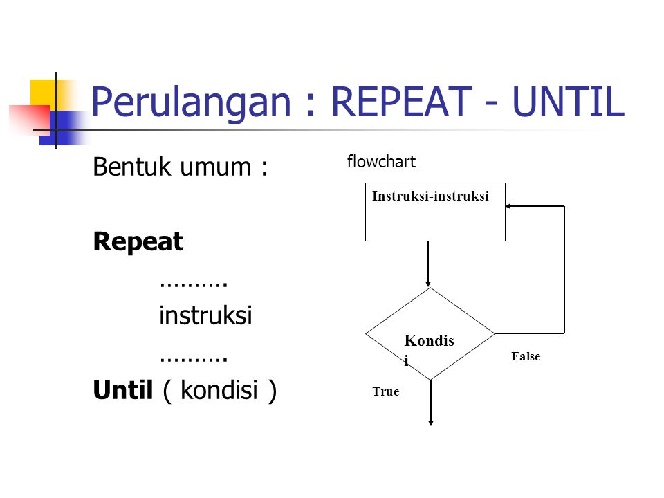 Perulangan : REPEAT - UNTIL