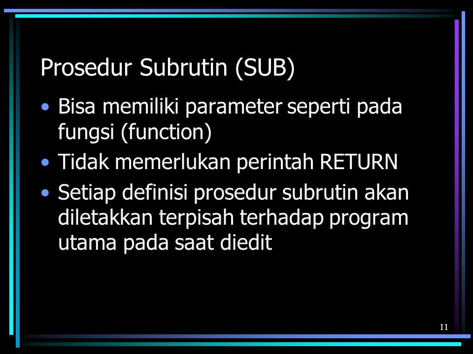 Prosedur Subrutin (SUB)