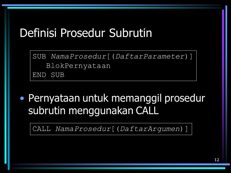 Definisi Prosedur Subrutin
