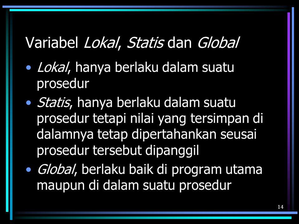 Variabel Lokal, Statis dan Global