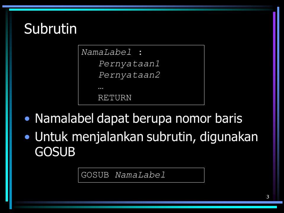 Subrutin Namalabel dapat berupa nomor baris